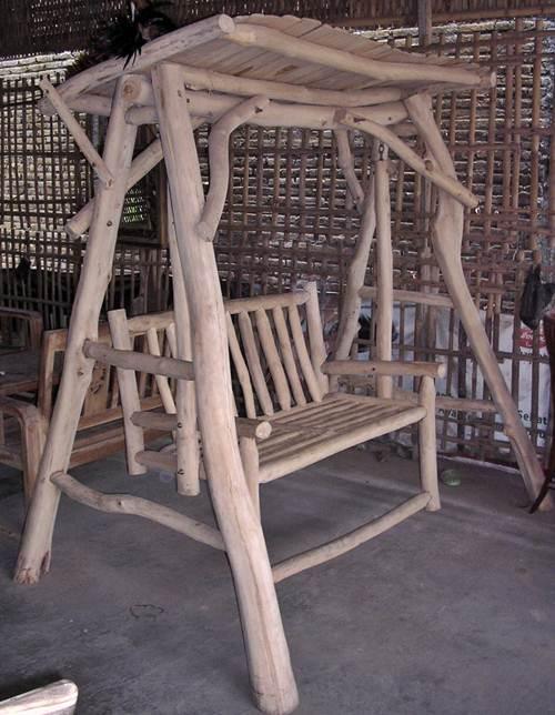 Gambar ayunan kayu jati alami antik