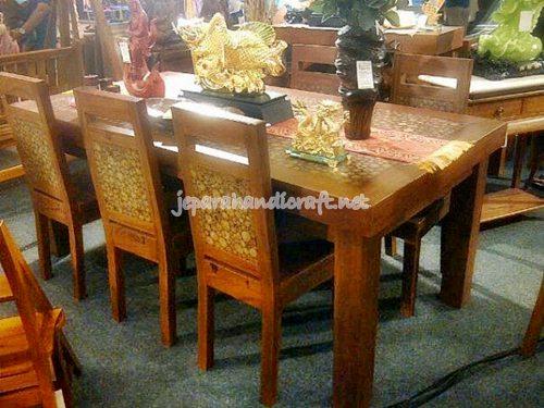 Gambar set meja makan anti koin jati