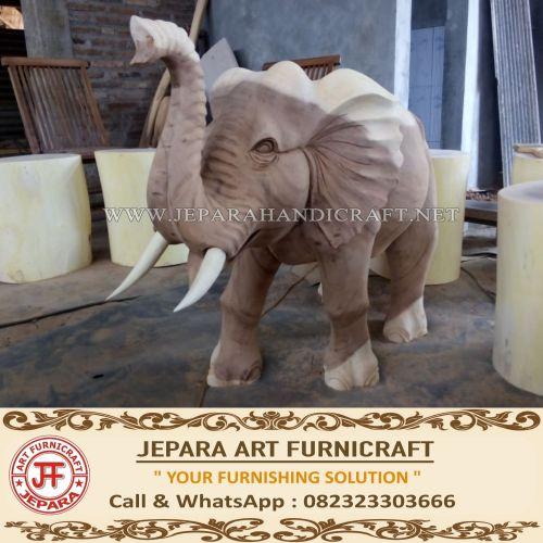 Jual Patung Gajah India Kayu Trembesi Utuh Harga Murah