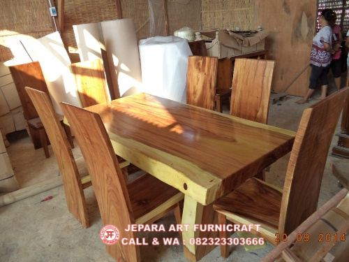 Gambar Set Kursi Makan Antik Trembesi Solid Wood 3