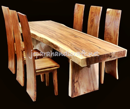 Jua Set Kursi Makan Antik Trembesi Solid Wood