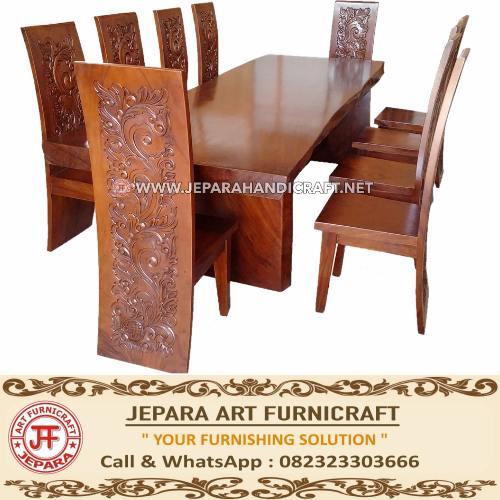 Gambar set kursi makan antik blok majapahit