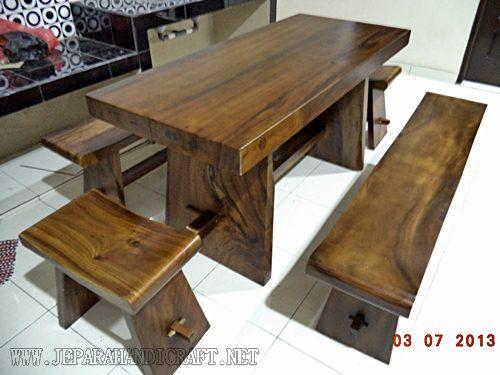 Jual Meja Trembesi Solid Wood Kombinasi Bangku Sate Harga Murah
