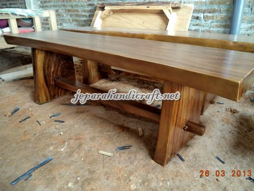 Gambar Bangku Taman Solid Wood Natural