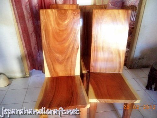 Gambar KURSI MAKAN BLOK SOLID WOOD FINISH NATURAL SEMI GLOSS