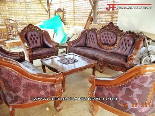 Gambar Kursi Sofa Tamu Jati Ganesha Mawar 5