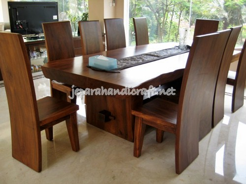 Gambar Meja Kursi Makan Solid Wood Trembesi Natural
