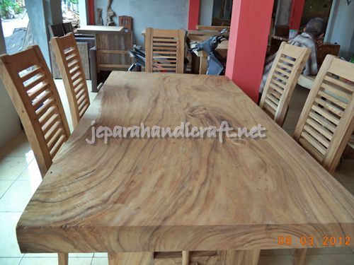 Gambar Meja Makan Minimalis Antik Solid Wood 6 Kursi Jari