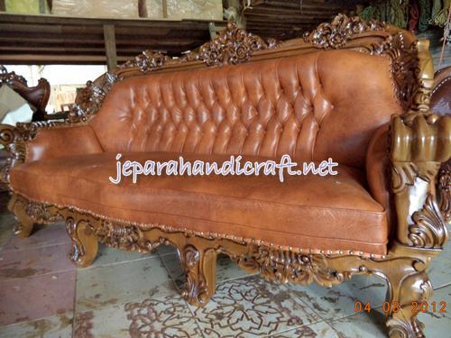 Gambar set kursi sofa tamu jati omero