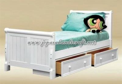 Gambar Tempat Tidur Anak Minimalis Laci Duco