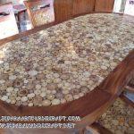 Meja Makan Minimalis Oval 6 Kursi Koin Antik