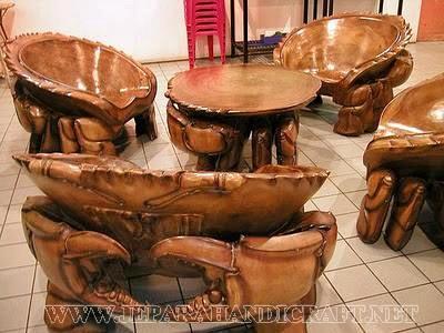 Jual Kursi Tamu Unik Kepiting Solid Wood