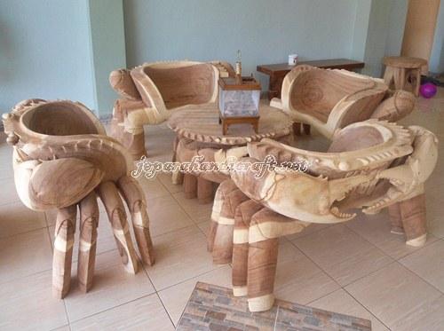 Gambar Kursi Tamu Unik Kepiting Solid Wood