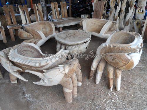 Gambar Kursi Tamu Unik Kepiting Solid Wood1