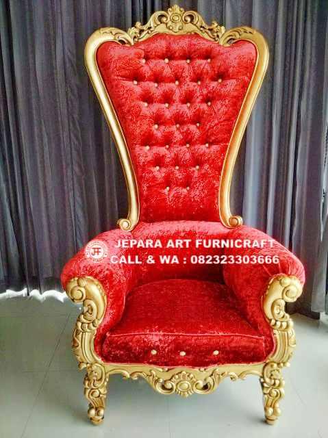Gambar Kursi Sofa Mewah Cobra Red Velvet 7