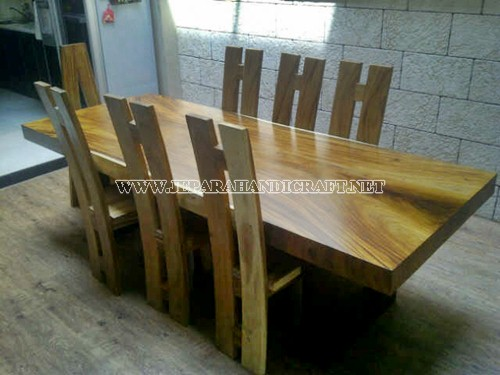 Jual Meja Solid Wood Trembesi Unnatural 8 Kursi Antik
