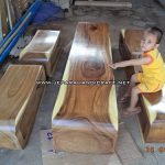 Set Bangku Log Solid Wood