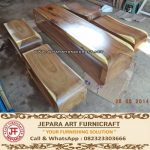 Set Kursi Bangku Kayu Trembesi Log Solid Wood