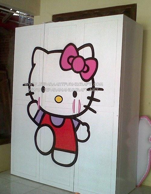 Gambar Lemari Pakaian Minimalis Hello Kitty