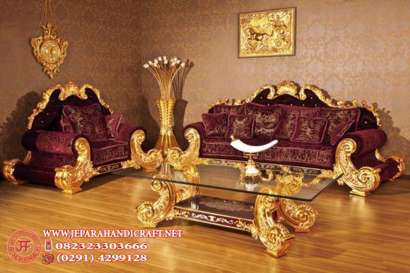 Jual Sofa Ruang Tamu Klasik Jackson Red Velvet Harga Murah Terbaik