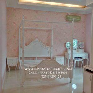 Tempat Tidur Anak Perempuan Putih Kanopi