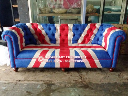 Gambar Sofa Tamu Chesterfield Bendera Inggris