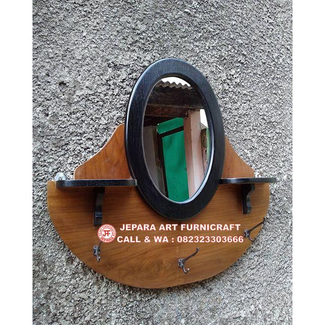 Gambar Cermin Jati Vintage Oval