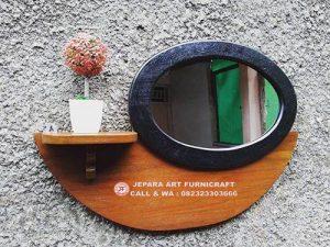 Cermin Minimalis Vintage Jati Oval