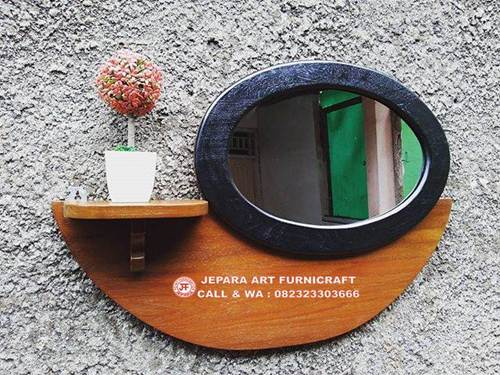 Sangat Cantik Jual Cermin Minimalis Vintage Jati Oval Murah