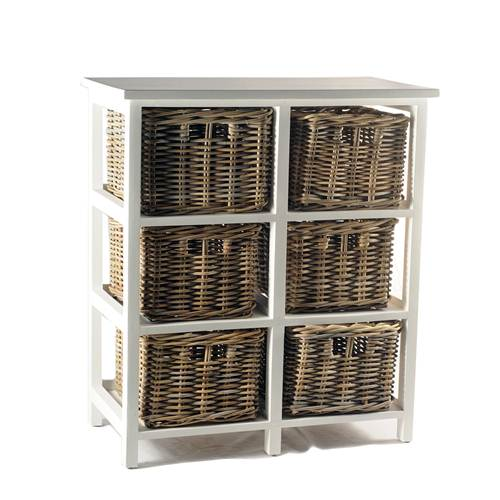 Meja Drawer White Frame Rattan Basket
