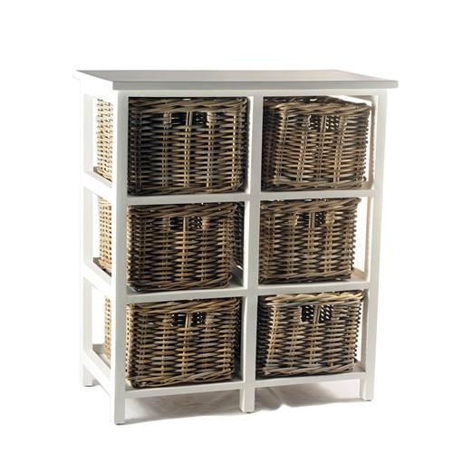 Jual Meja Drawer White Frame Rattan Basket Murah