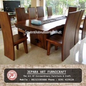 Meja Kursi Makan Solid Wood Trembesi Natural