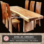 Set Kursi Makan Antik Trembesi Solid Wood