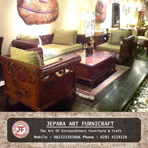 Gambar Set Kursi Tamu Sofa Jati New Bei