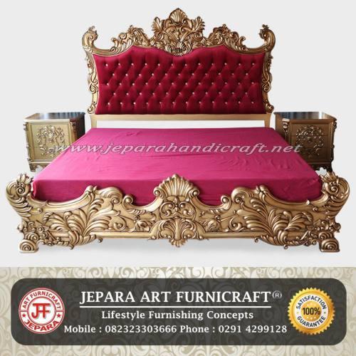 Tempat Tidur Classic Baroque Red Velvet Kualitas Terbaik