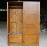 Lemari Pakaian Minimalis Jati Sliding Door