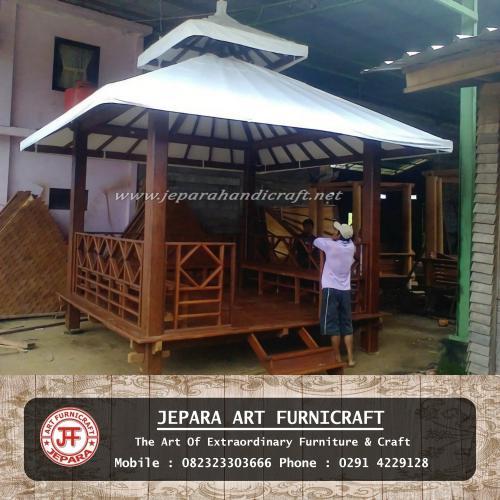 Gambar Gazebo Kayu Glugu Minimalis Atap Tenda