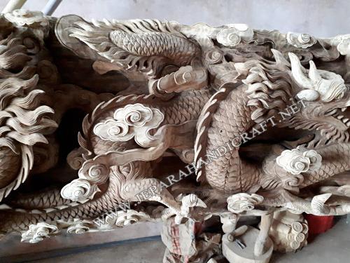 Jual Patung Relief Naga Leang Leong Kayu Utuh Murah