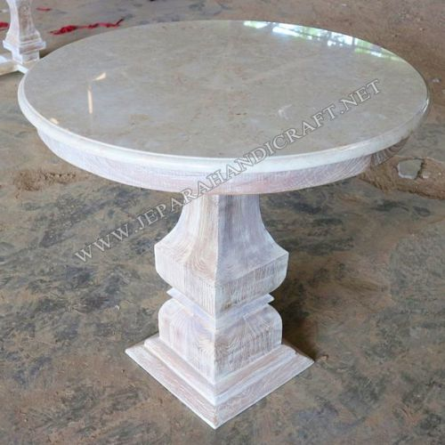 Jual Meja Tamu Antik Bulat Marmer White Wash Harga Murah