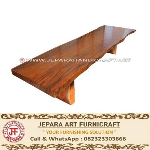 Meja Makan Solid Trembesi Alami 400 x 100 Cm