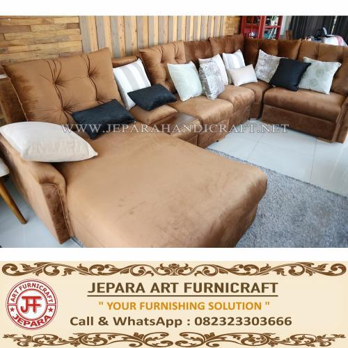 Jual Sofa Modern Minimalis Grace Brown Velvet Harga Murah
