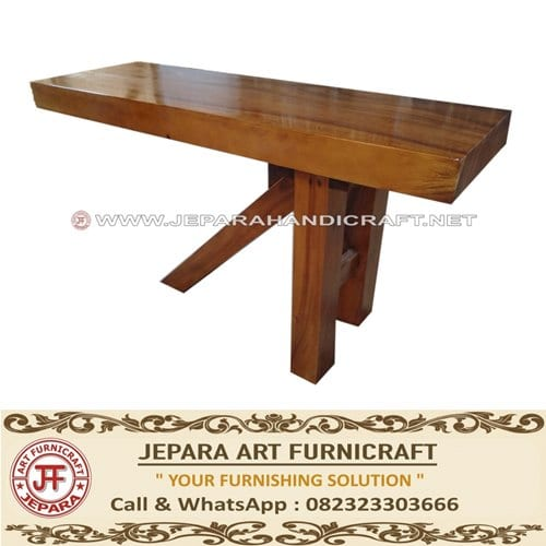 Meja Bar Minimalis Antik Solid Wood Kaki Tiga