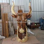 Patung Kepala Banteng Trembesi Solid