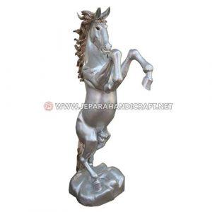Jual Patung Kuda Jingkrak Kayu Trembesi Silver Berkualitas