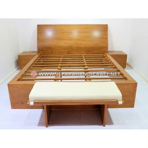 Jual Tempat Tidur Minimalis Kayu Jati Canggu LED