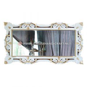 Jual Pigura Cermin Ukir Klasik White Duco Kombinasi Gold Terpercaya