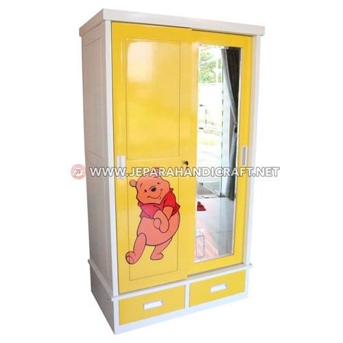 Jual Lemari Pakaian Anak 2 Pintu Minimalis Karakter Jepara