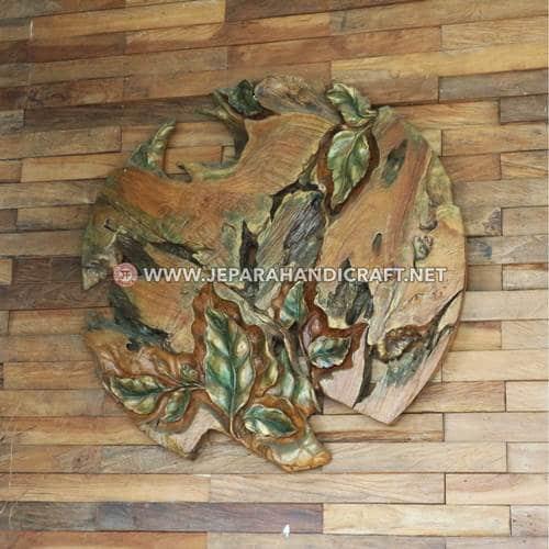 Jual Hiasan Dinding Jati Ukiran Leaf Abstract Murah